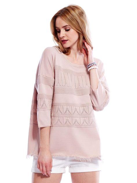 Różowy sweter w delikatny wzór                                  zdj.                                  1