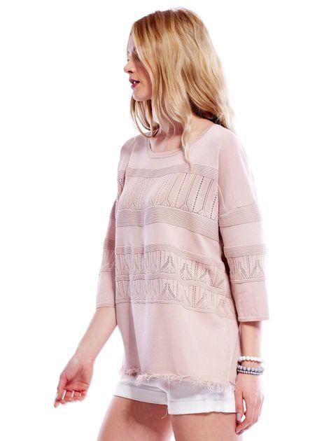 Różowy sweter w delikatny wzór                              zdj.                              7