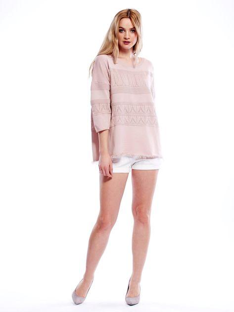 Różowy sweter w delikatny wzór                                  zdj.                                  4
