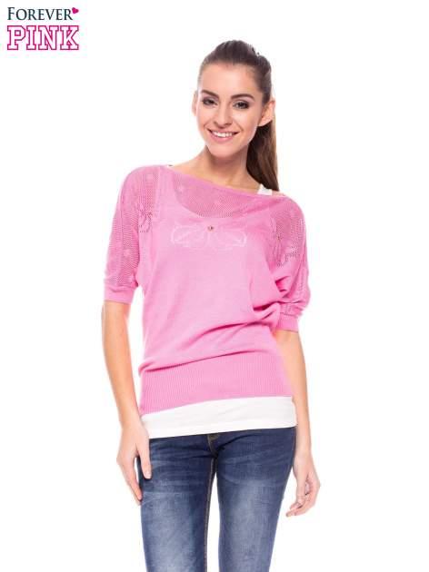 Różowy sweter z ażurową górą i krótkim rękawkiem                                  zdj.                                  1