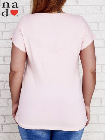 Różowy t-shirt basic PLUS SIZE
