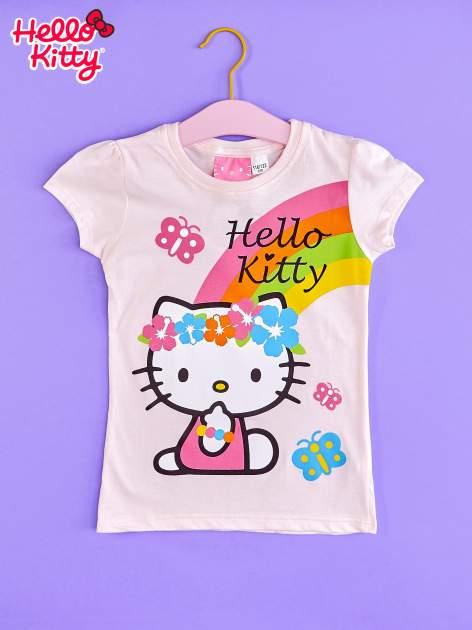 Różowy t-shirt dla dziewczynki nadruk HELLO KITTY                                  zdj.                                  1