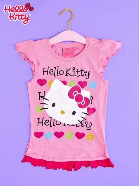 Różowy t-shirt dla dziewczynki z falbankami HELLO KITTY                                  zdj.                                  1