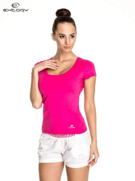 Różowy t-shirt sportowy basic z dekoltem U                                  zdj.                                  1