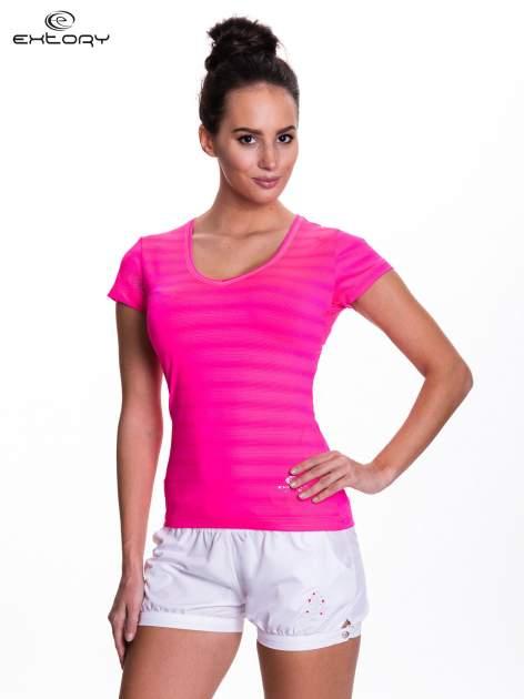 Różowy t-shirt sportowy w paseczki                                  zdj.                                  1