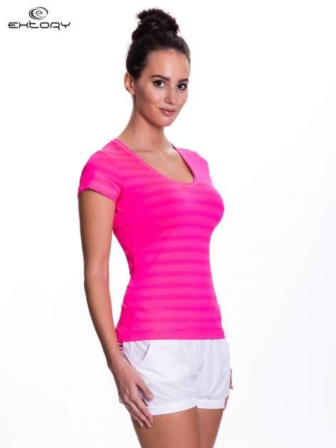 Różowy t-shirt sportowy w paseczki                                  zdj.                                  3
