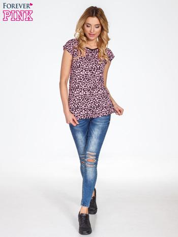 Różowy t-shirt w panterkę                                  zdj.                                  7