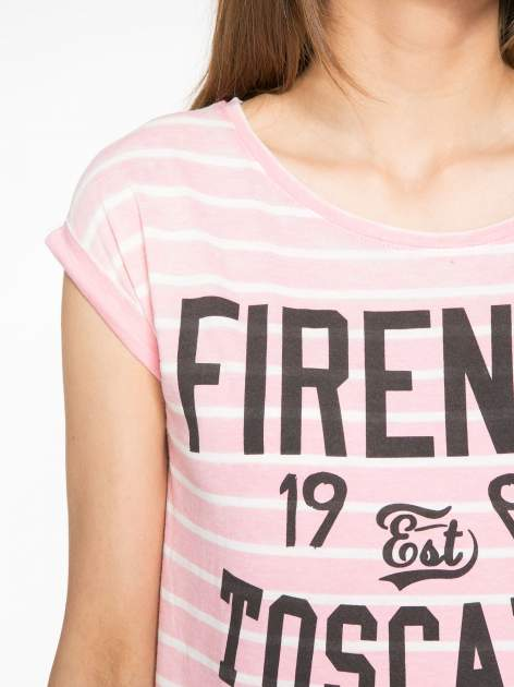 Różowy t-shirt w paski z napisem FIRENZE TOSCANA                                  zdj.                                  5