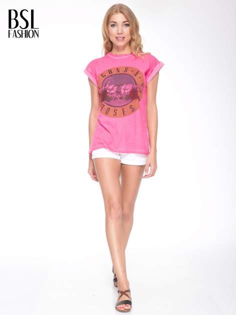 Różowy t-shirt z nadrukiem GUNS N' ROSES                                  zdj.                                  5