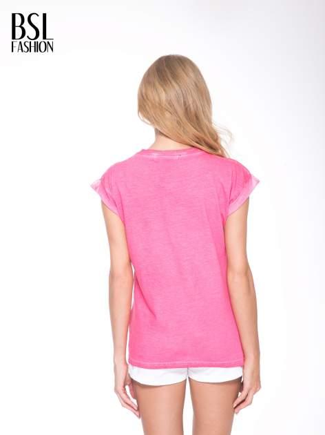 Różowy t-shirt z nadrukiem GUNS N' ROSES                                  zdj.                                  4