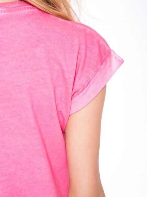 Różowy t-shirt z nadrukiem GUNS N' ROSES                                  zdj.                                  8