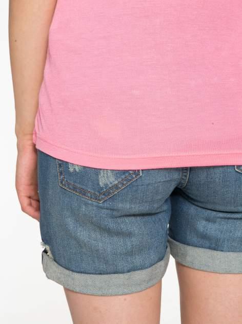 Różowy t-shirt z nadrukiem kota i myszy                                  zdj.                                  11