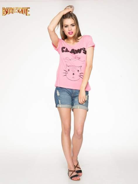 Różowy t-shirt z nadrukiem kota i myszy                                  zdj.                                  2