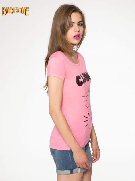 Różowy t-shirt z nadrukiem kota i myszy                                  zdj.                                  3