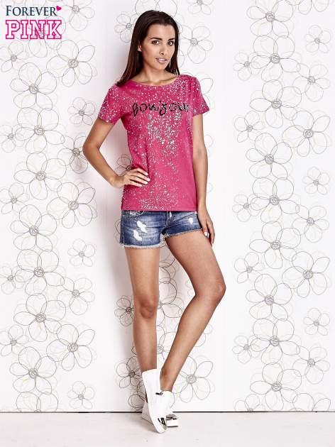 Różowy t-shirt z napisem BONJOUR                                  zdj.                                  2