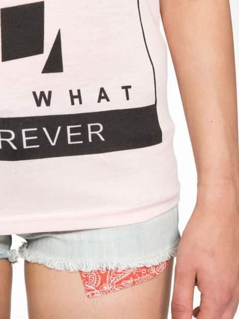 Różowy t-shirt z napisem DO YOU BELIEVE IN LOVE?                                  zdj.                                  6