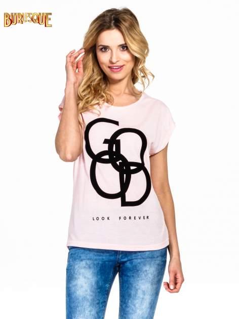 Różowy t-shirt z napisem LOOK GOOD FOREVER