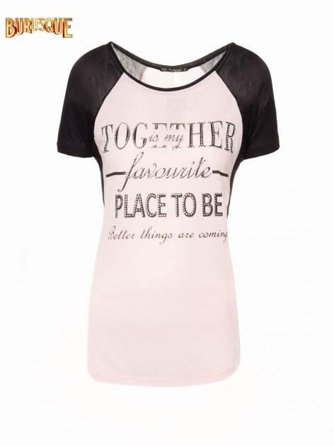 Różowy t-shirt z napisem TOGETHER IS MY FAVOURITE PLACE TO BE                                  zdj.                                  1