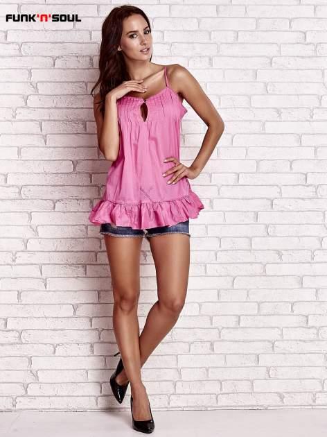 Różowy top na cienkich ramiączkach z falbaną FUNK N SOUL                                  zdj.                                  2