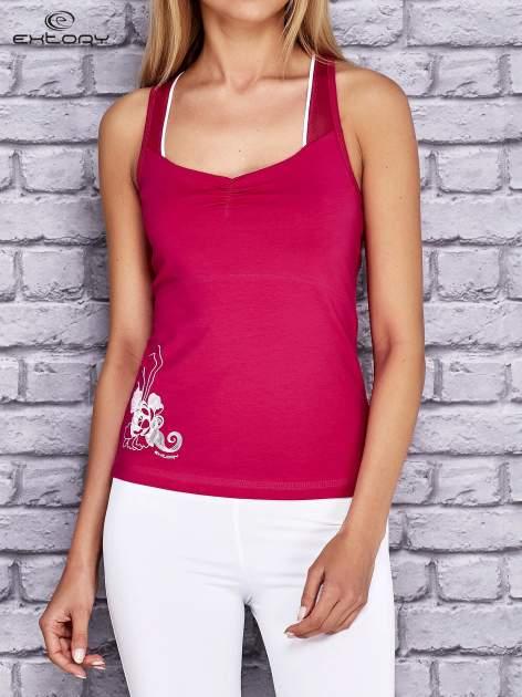 Różowy top sportowy z siateczką i nadrukiem floral print                              zdj.                              1