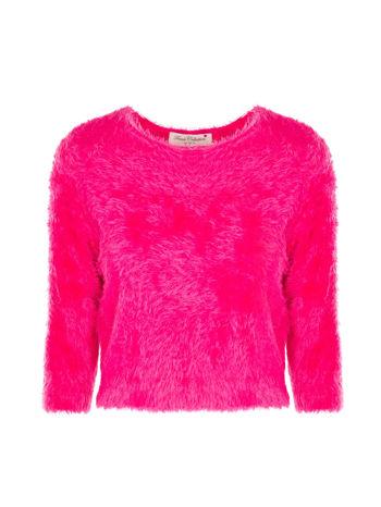 Różowy włochaty sweter z rękawami 3/4                                  zdj.                                  1
