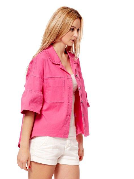 Różowy żakiet z szerokimi rękawami                              zdj.                              3
