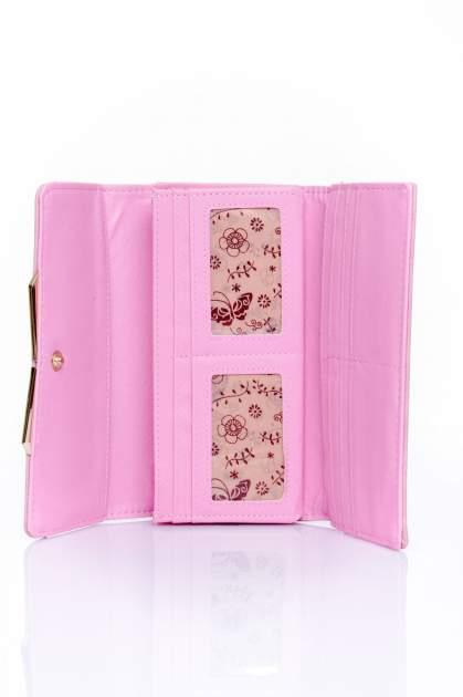 Różowy zamszowy portfel z geometrycznym motywem                                  zdj.                                  4