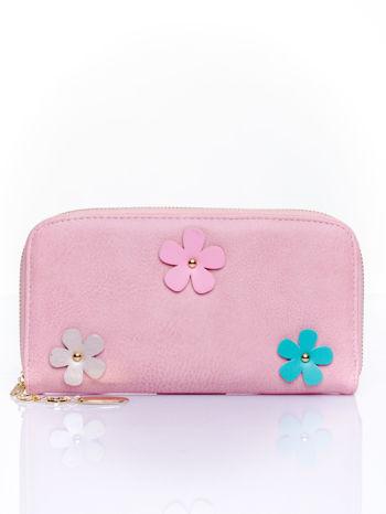Różowy zasuwany portfel w kwiatki                                  zdj.                                  1
