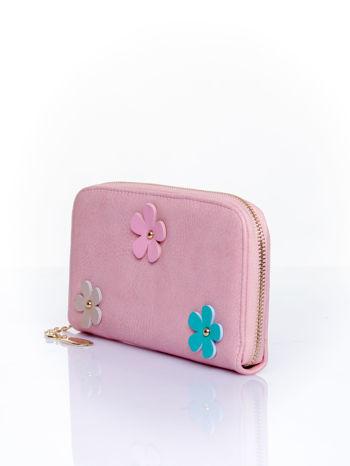 Różowy zasuwany portfel w kwiatki                                  zdj.                                  3