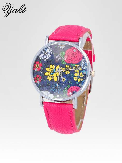 Różowy zegarek damski na pasku z kwiatową tarczą                                  zdj.                                  2