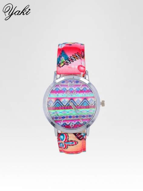 Różowy zegarek damski z motywem azteckim