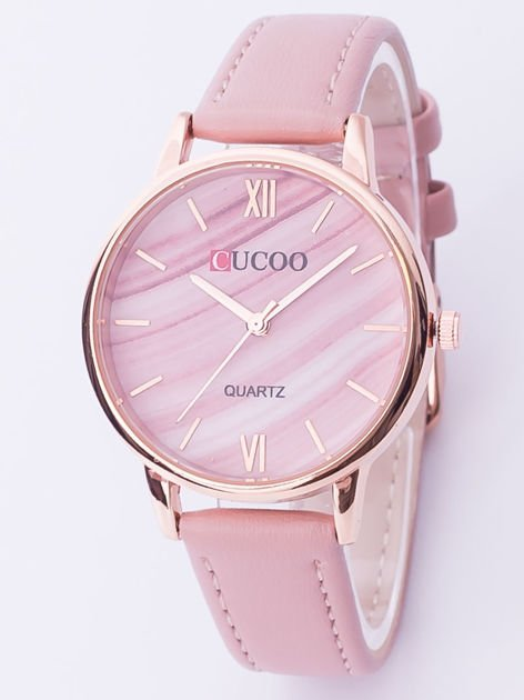 Różowy zegarek damski z motywem marmuru
