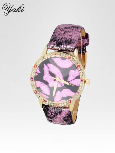 Różowy zegarek na pasku z motywem KISS                                  zdj.                                  2