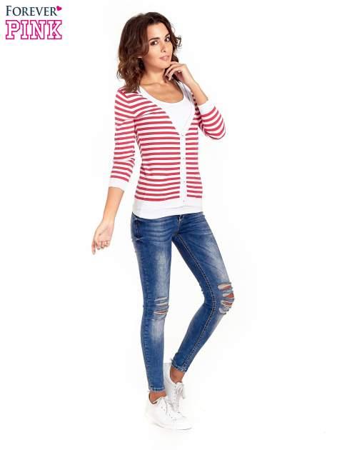 Rozpinany sweter w biało-czerwone paski z kieszonkami po bokach                                  zdj.                                  2