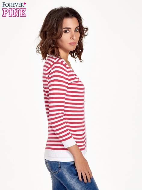 Rozpinany sweter w biało-czerwone paski z kieszonkami po bokach                                  zdj.                                  3