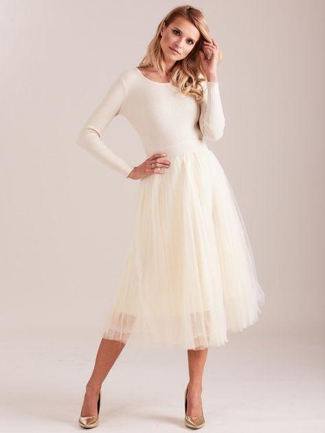 Beżowa sukienka midi                              zdj.                              3