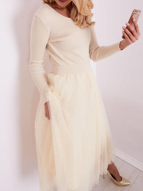 Beżowa sukienka midi                              zdj.                              2