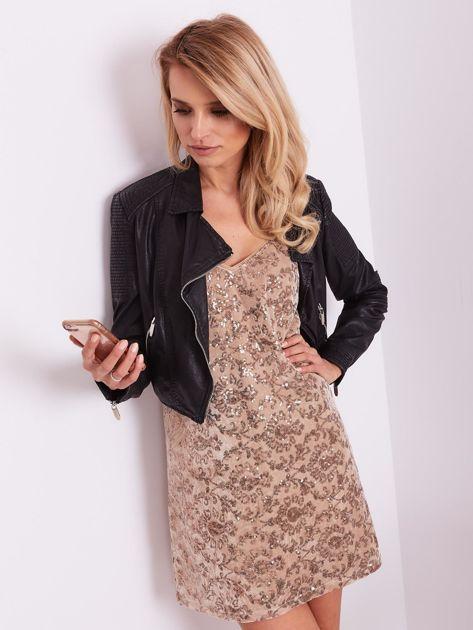 Beżowa sukienka mini                               zdj.                              8
