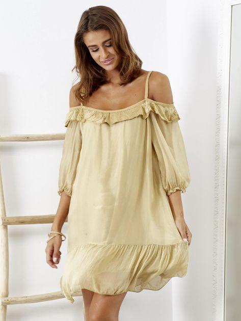 Beżowa sukienka z wycięciami na ramionach                              zdj.                              5