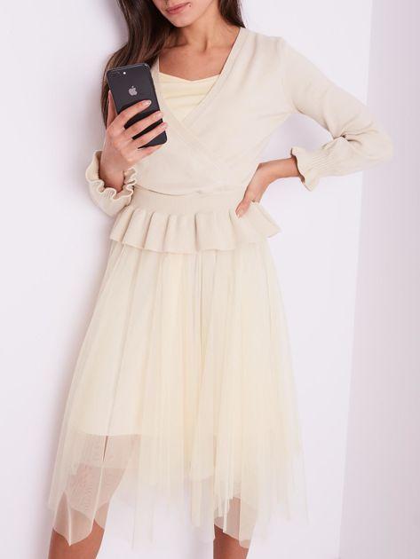 SCANDEZZA Beżowa tiulowa sukienka                              zdj.                              2