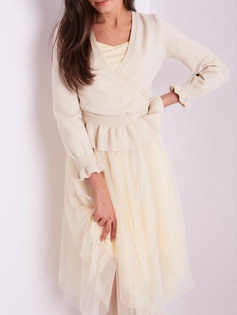 SCANDEZZA Beżowa tiulowa sukienka                              zdj.                              9