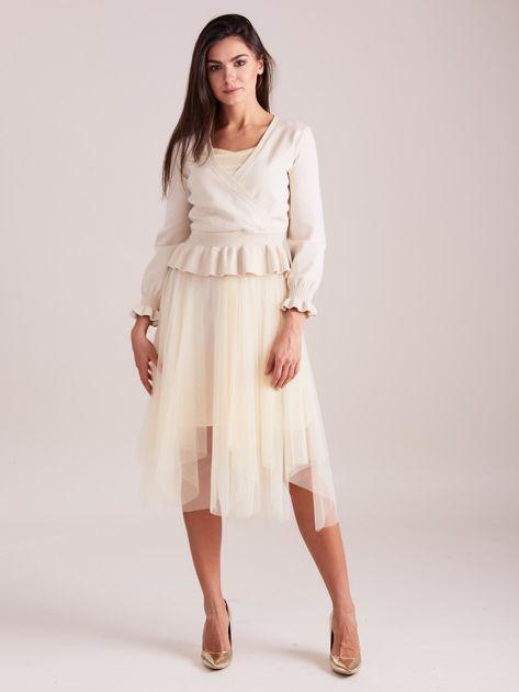 Beżowa tiulowa sukienka                              zdj.                              4