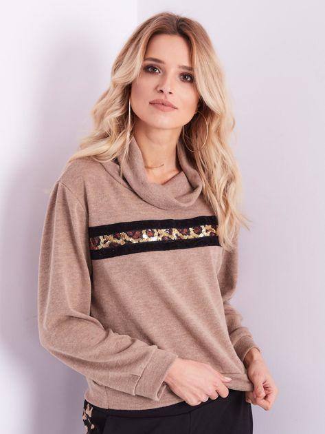 Beżowy sweter golf z cekinowym zdobieniem                              zdj.                              6