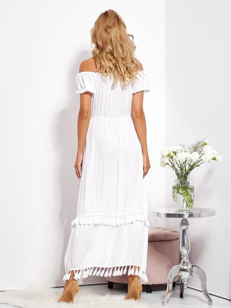 Biała asymetryczna sukienka hiszpanka z frędzlami                              zdj.                              7