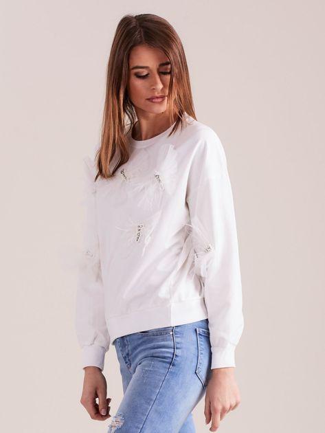 SCANDEZZA Biała bluza z aplikacją                              zdj.                              4