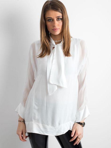 Biała bluzka z wiązaniem                              zdj.                              1