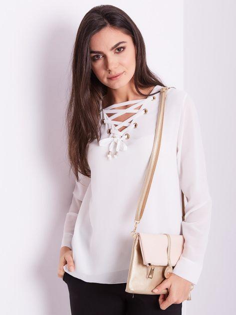 Biała bluzka ze sznurowaniem                              zdj.                              6