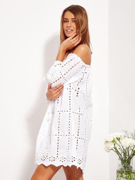 Biała sukienka hiszpanka z boho troczkiem i haftem                              zdj.                              6