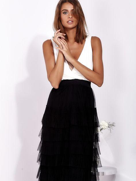Biało-czarna sukienka maxi z plisowanymi falbanami                              zdj.                              2
