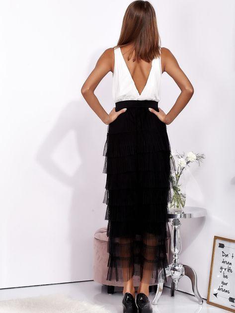 Biało-czarna sukienka maxi z plisowanymi falbanami                              zdj.                              3